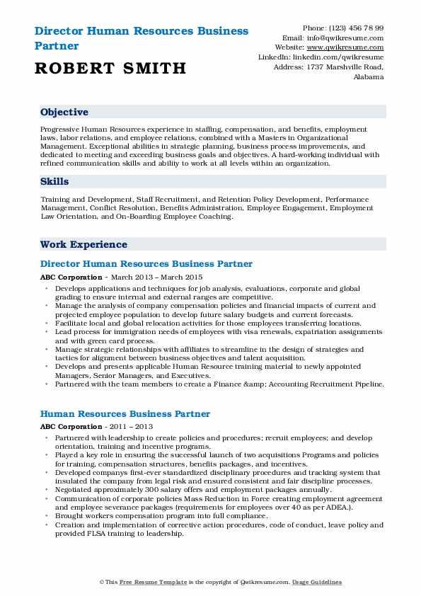 human resources business partner resume samples  qwikresume