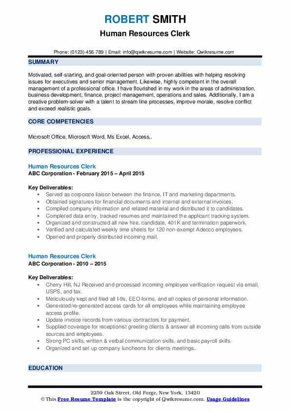 Human Resources Clerk Resume example