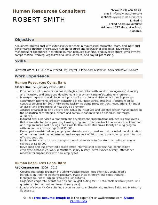 Human Resources Consultant Resume Example