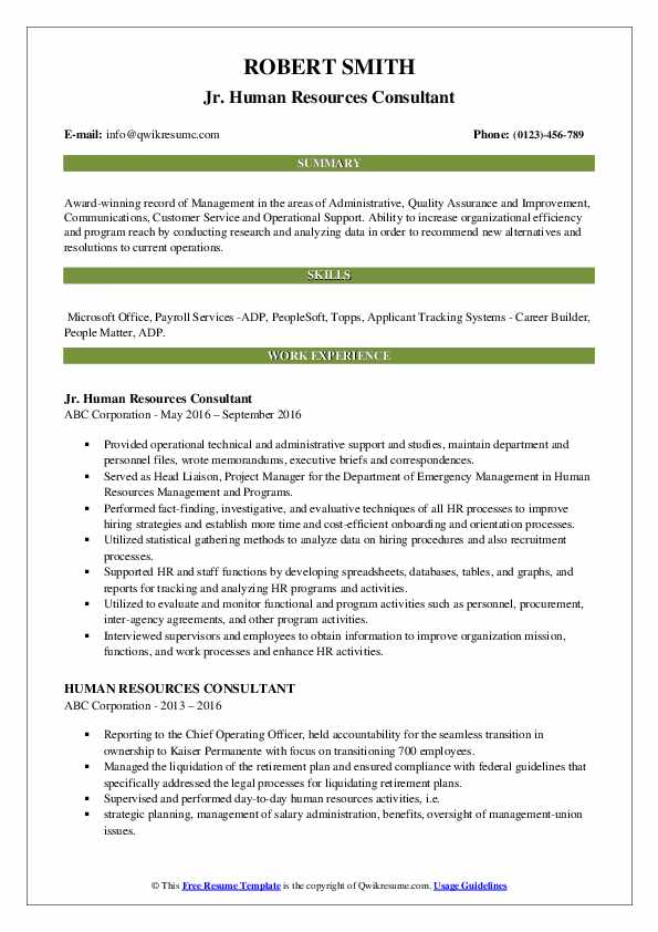 Jr. Human Resources Consultant Resume Example