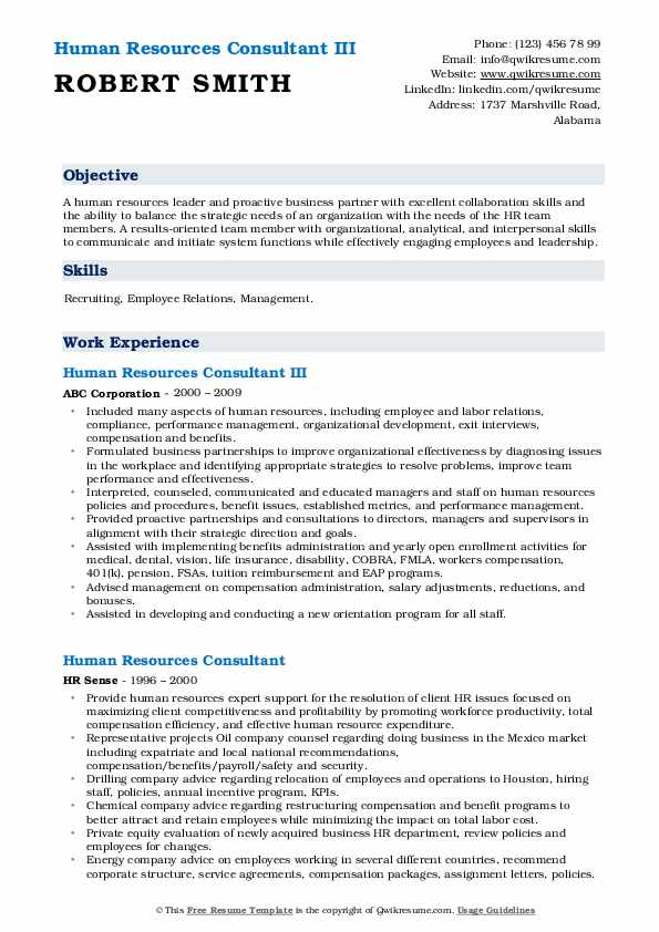 Human Resources Consultant III Resume Model