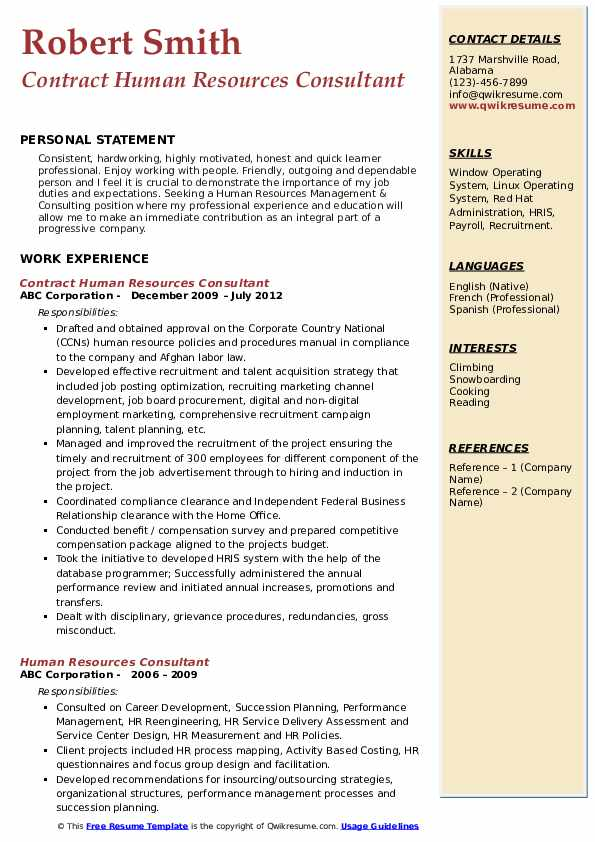 Contract Human Resources Consultant Resume Model