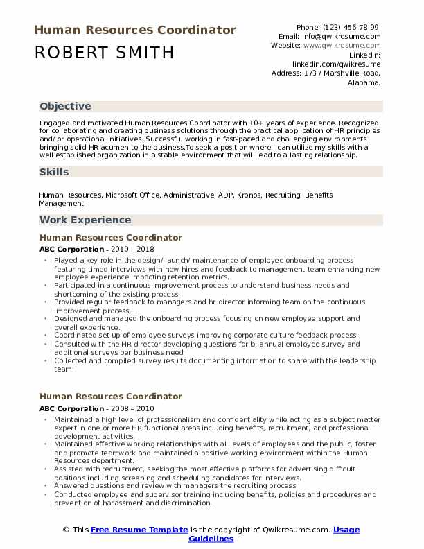 Human Resources Job Description For Resume