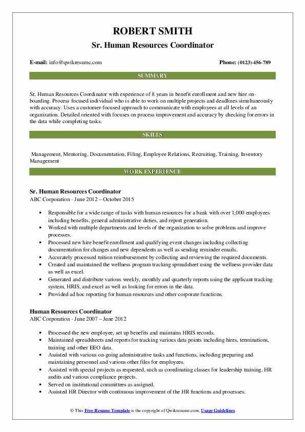 Human Resources Coordinator Resume Samples | QwikResume