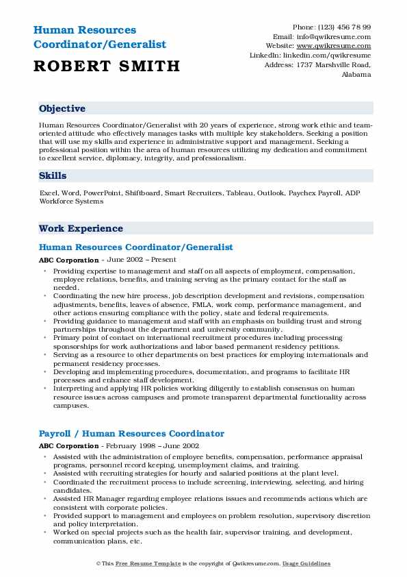 Human Resources Coordinator Resume Samples Qwikresume