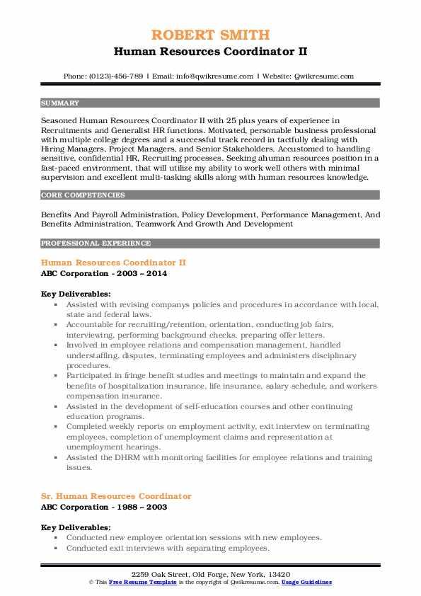 human resources coordinator resume samples