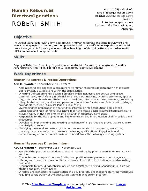 Human Resources Director/Operations Resume Example