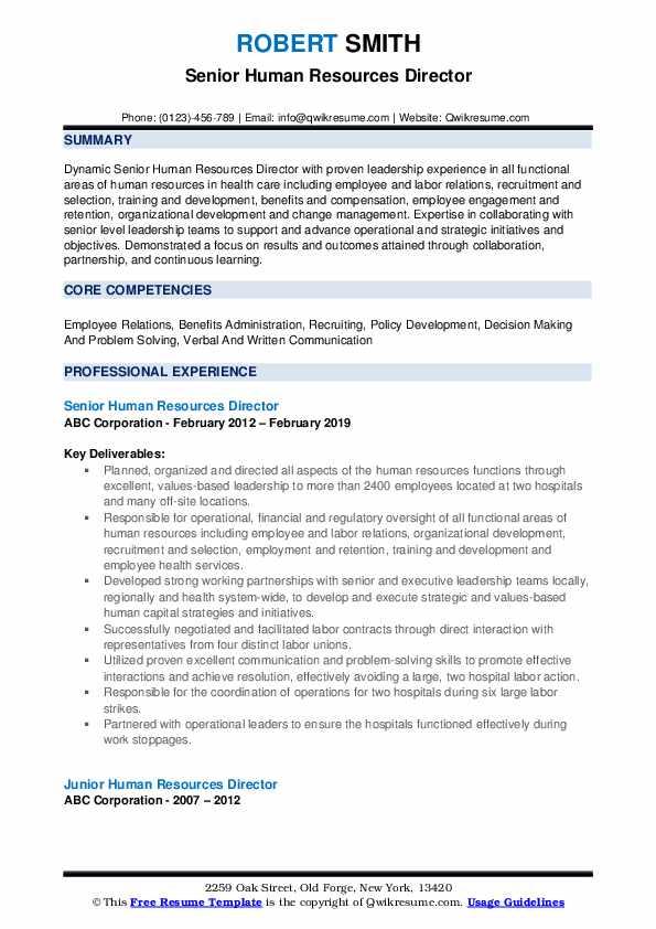 Senior Human Resources Director Resume Format