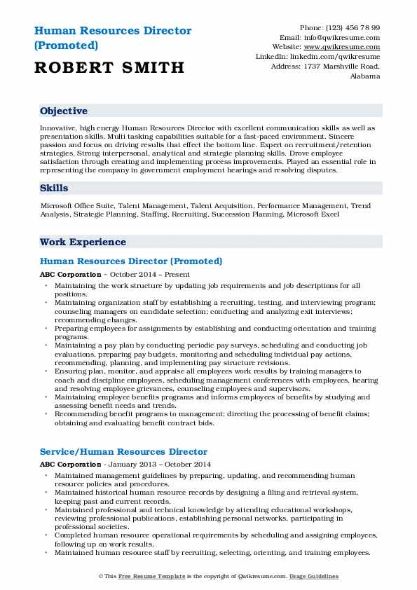Human Resources Director (Promoted) Resume Template