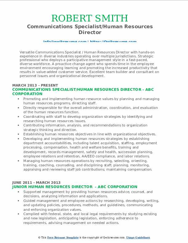 Communications Specialist/Human Resources Director Resume Sample