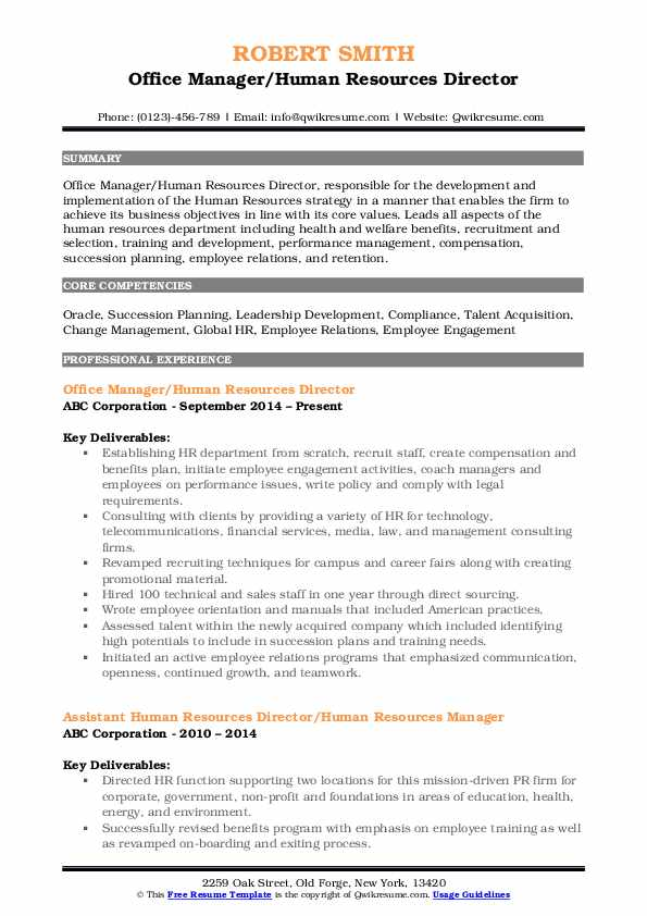Human Resources Director Resume Samples | QwikResume