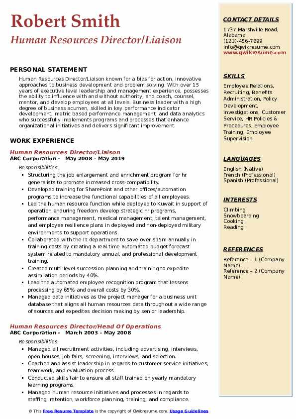 Human Resources Director/Liaison Resume Sample