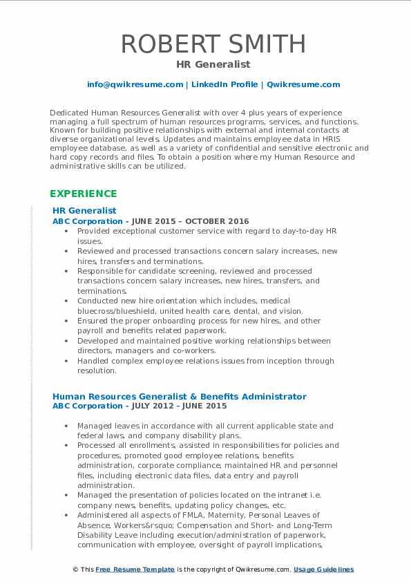HR Generalist Resume Model