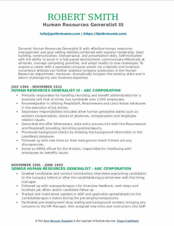 Human Resources Generalist III Resume Format
