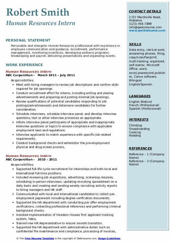 Human Resources Intern Resume Samples Qwikresume