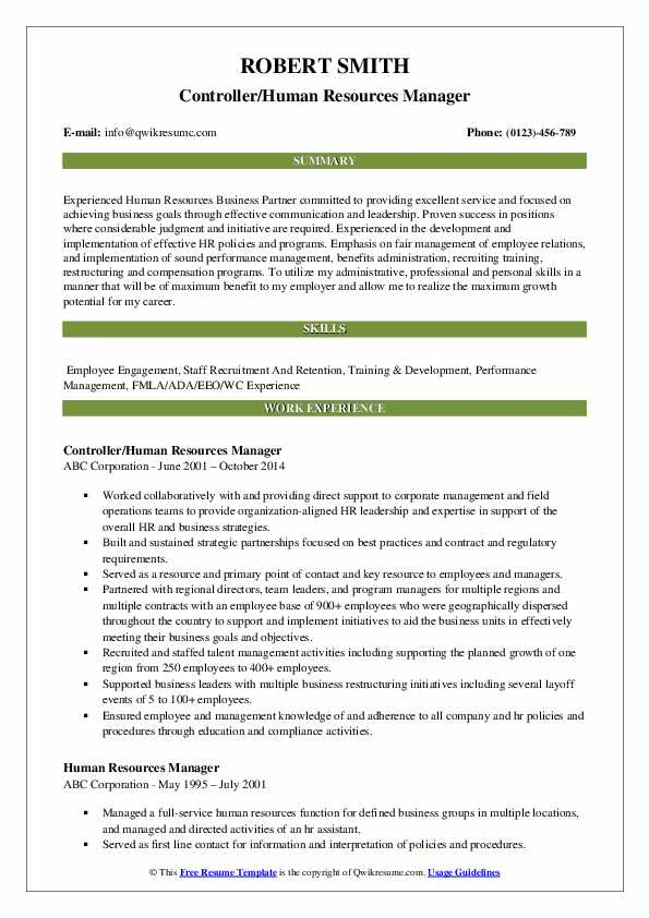 Controller/Human Resources Manager Resume Format