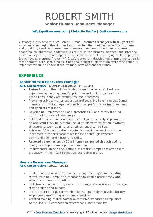 Senior Human Resources Manager Resume Model