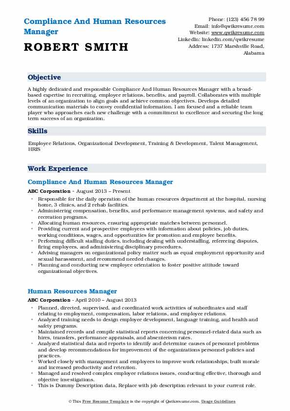 Compliance And Human Resources Manager Resume Template