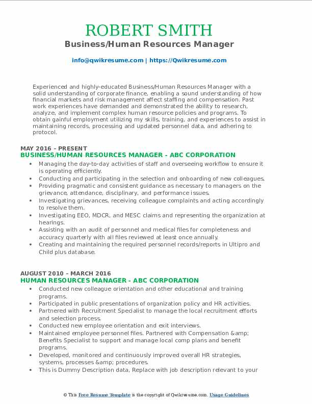 Business/Human Resources Manager Resume Model