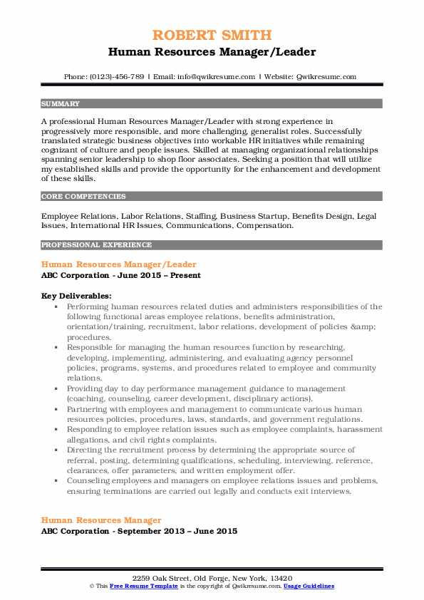 Human Resources Manager Resume Samples Qwikresume