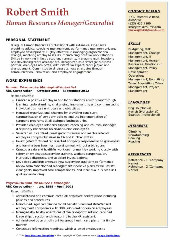 Human Resources Manager/Generalist Resume Model