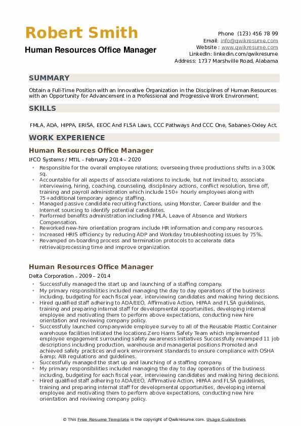 Human Resources Office Manager Resume example