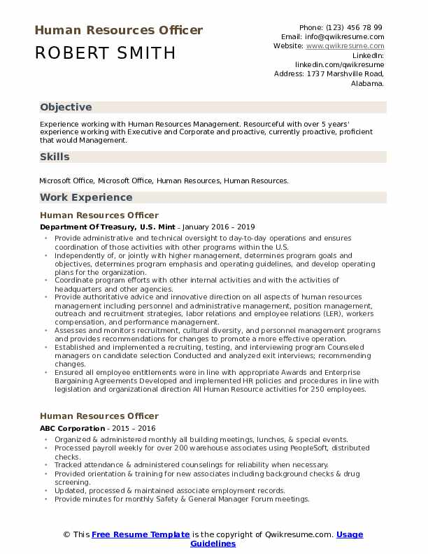 Human Resources Officer Resume Samples Qwikresume