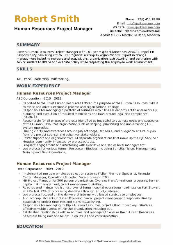 Human Resources Project Manager Resume example
