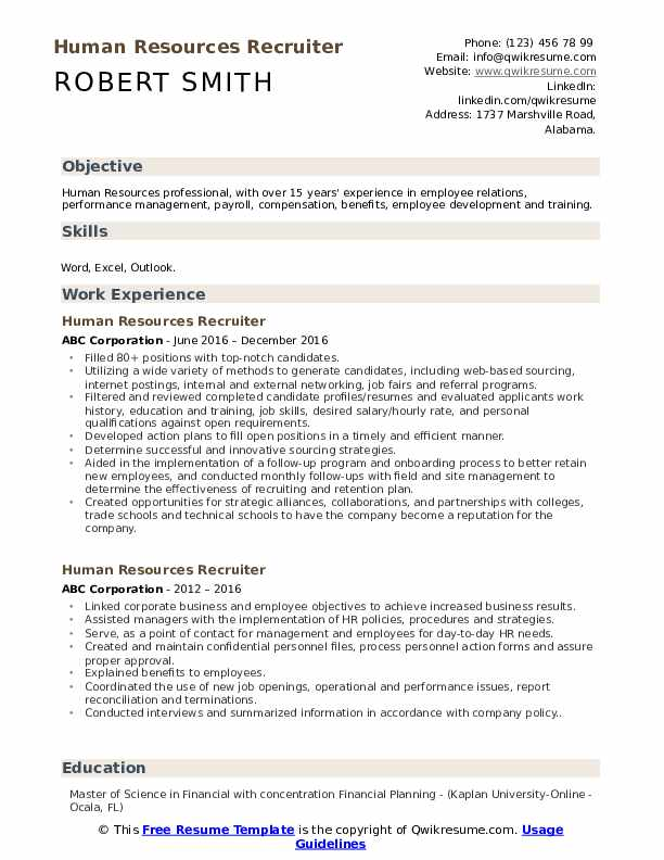 Human Resources Recruiter Resume Template
