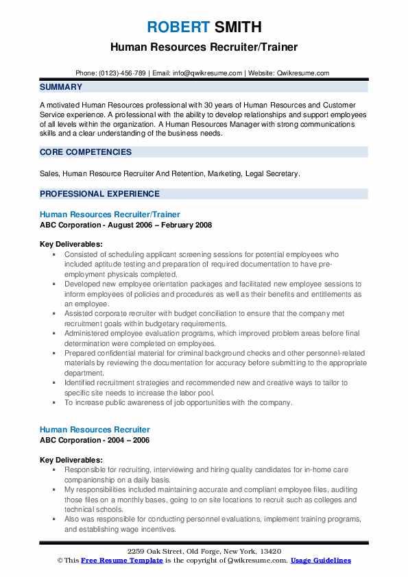Human Resources Recruiter/Trainer Resume Format