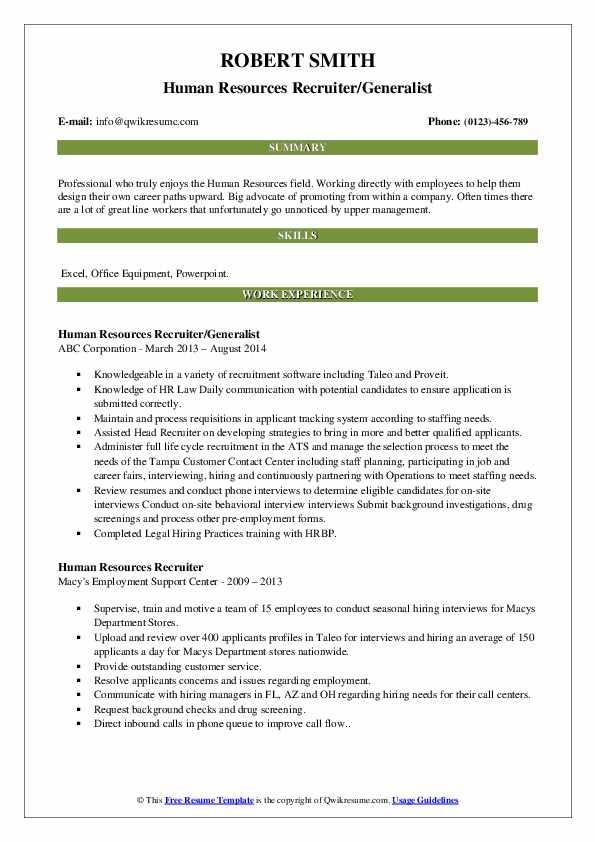 Human Resources Recruiter/Generalist Resume Template