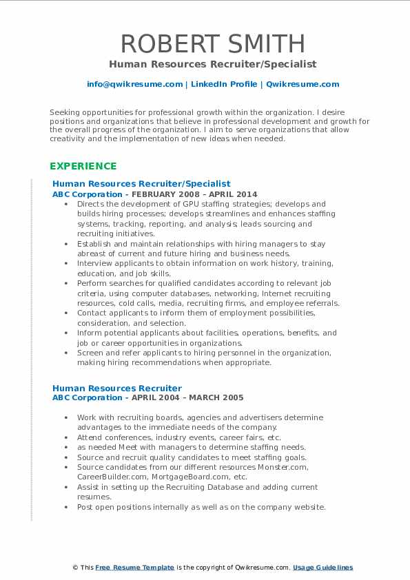 Human Resources Recruiter/Specialist Resume Model