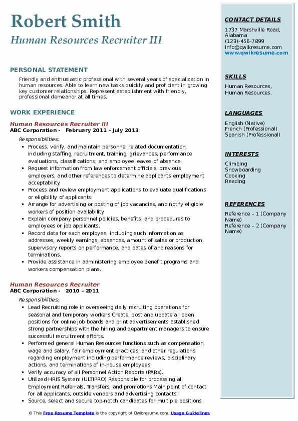 Human Resources Recruiter III Resume Template