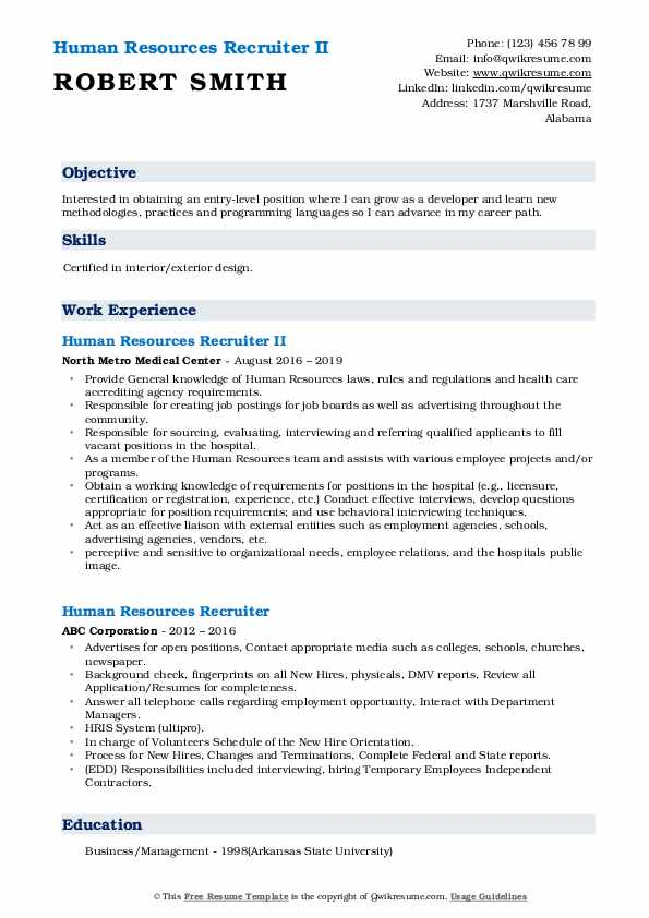 Human Resources Recruiter II Resume Sample