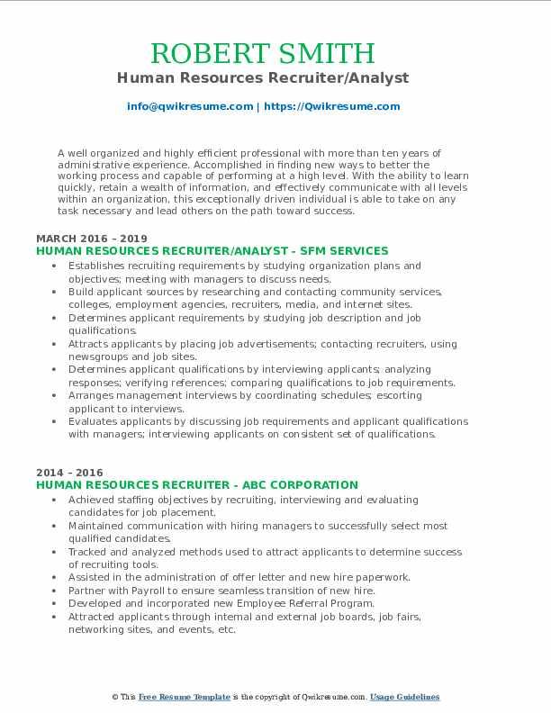 Human Resources Recruiter/Analyst Resume Model