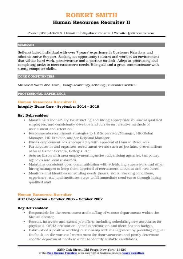 Human Resources Recruiter II Resume Model