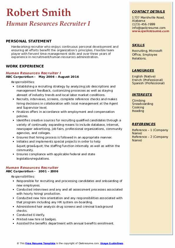 Human Resources Recruiter I Resume Model