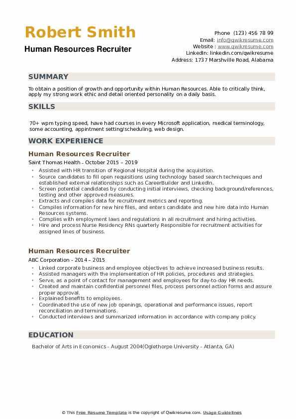 Human Resources Recruiter Resume Sample