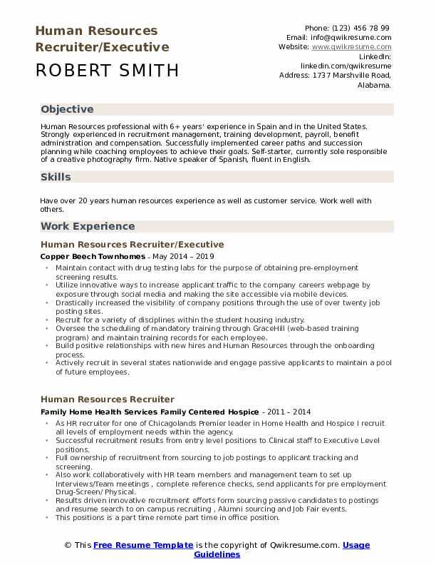Human Resources Recruiter/Executive Resume Model