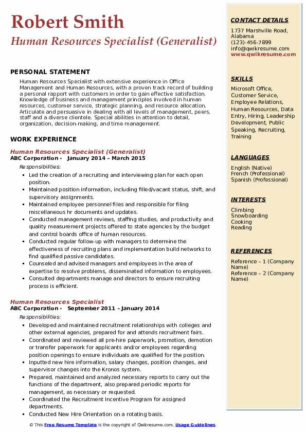 Human Resources Specialist (Generalist) Resume Format