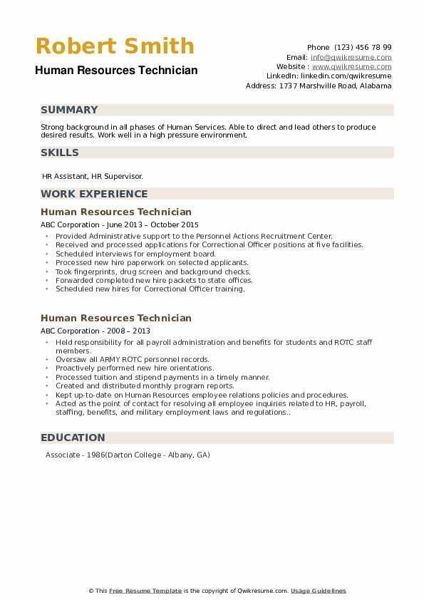 Human Resources Technician Resume example