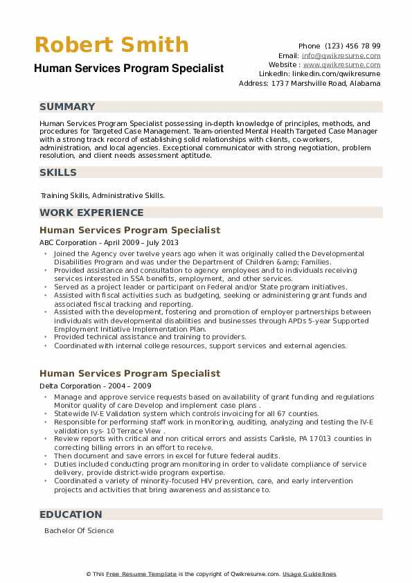 Human Services Program Specialist Resume example