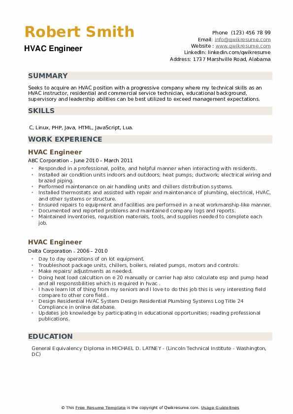 HVAC Engineer Resume example