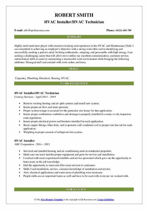 HVAC Installer/HVAC Technician Resume Example