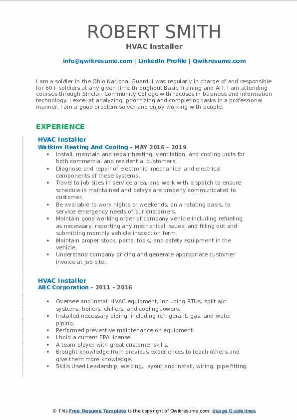HVAC Installer Resume Samples | QwikResume