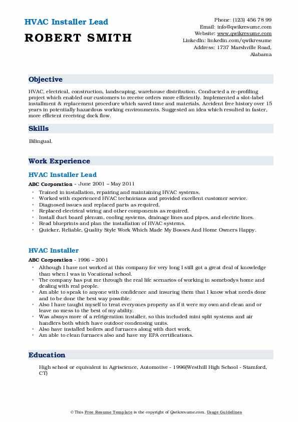 HVAC Installer Lead Resume Format