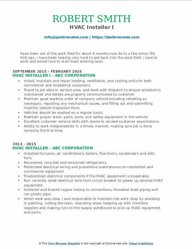 HVAC Installer I Resume Sample