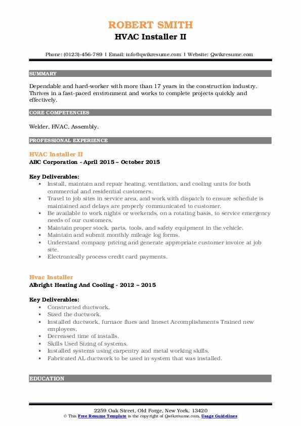 HVAC Installer II Resume Model