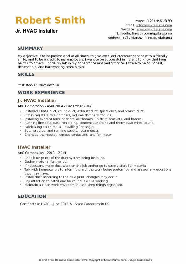 hvac installer resume samples  qwikresume