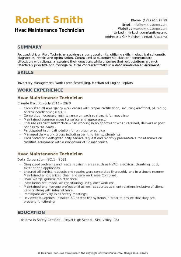 HVAC Maintenance Technician Resume example